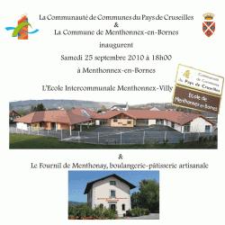 Carton d'invitation à l'inauguration du groupe scolaire et de la boulangerie le 25 septembre 2010.