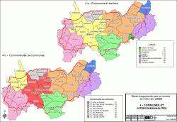 Communes et cantons du bassin versant des Usses.