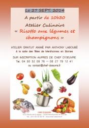 Atelier culinaire le 27 septembre 2014 à partir de 10h30