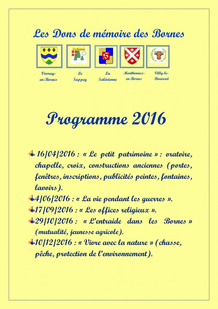Programme 2016 des Dons de Mémoire des Bornes