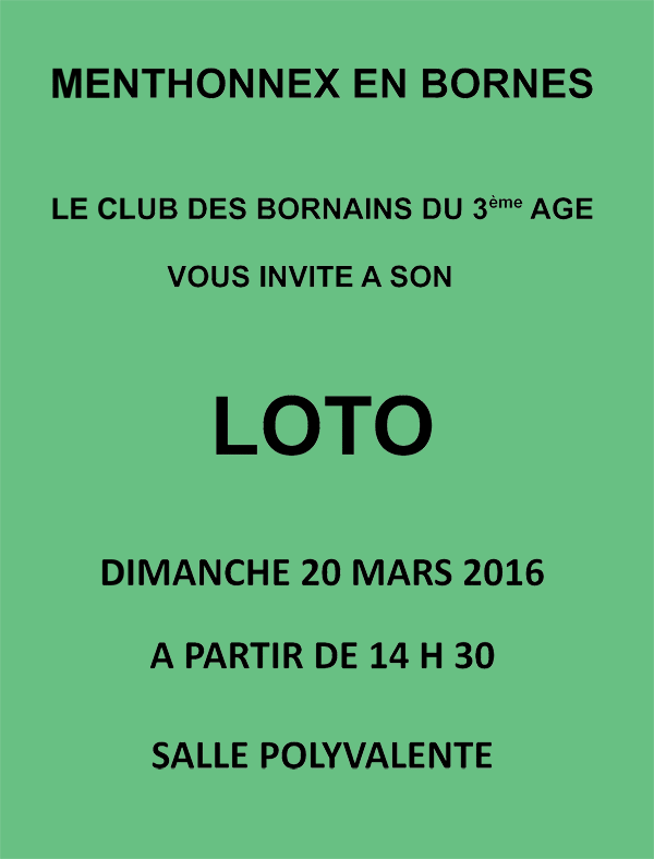Loto du Club des Bornains du 3ème le dimanche 20 mars à partir de 14h30