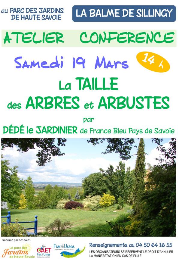 Atelier conférence taille d'arbustes  au Parc des Jardins de Haute-Savoie le 19 mars à 14h.
