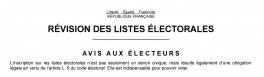 En-tête de l'Avis de révision des listes électorales 2016-2017