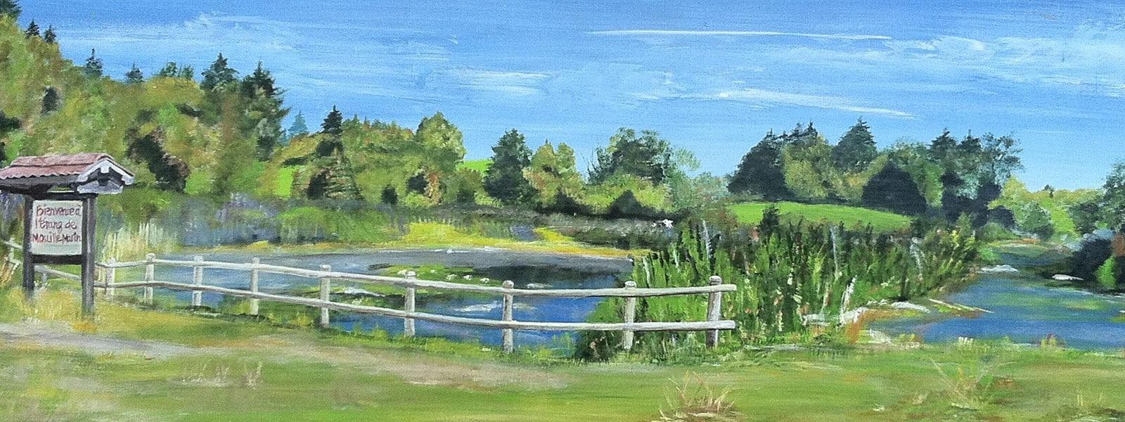Peinture de l'étang de Mouille Marin réalisée par Denise Chamot