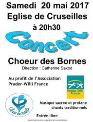 Affiche du concert du Choeur des Bornes à Cruseilles le 20 mai 2017