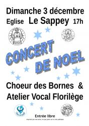 Concert du Choeur des Bornes et de l'Atelier Vocal Florilège le dimanche 3 décembre 2017 à 17h en l'église du Sappey.