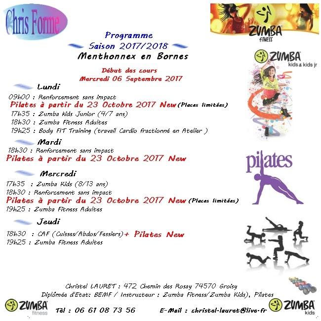 Programme Gym et Zumba Fitness pour la saison 2017/2018