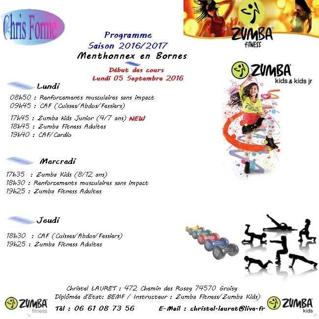 Programme Gym et Zumba Fitness pour la saison 2016/2017