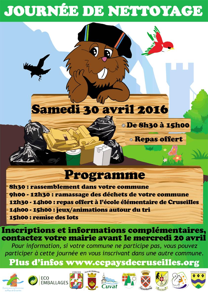 Affiche de la Journée de nettoyage du 30 avril 2016