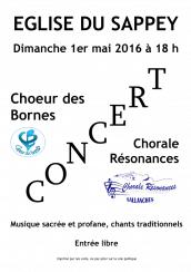 Affiche du Concert du Choeur des Bornes et de la Chorale Résonances au Sappey le 1er mai 2016