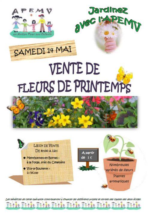 Affiche de la vente de fleurs de printemps 2016 de l'APEMV