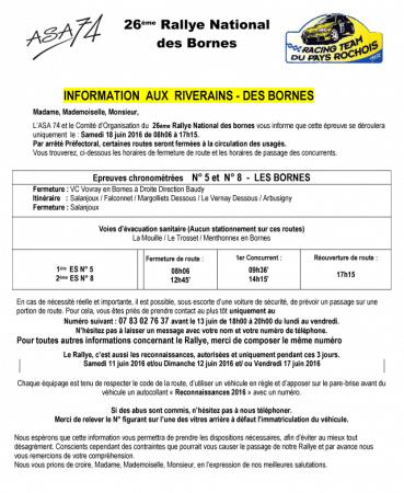 Informations aux riverains concernant le Rallye des Bornes 2016