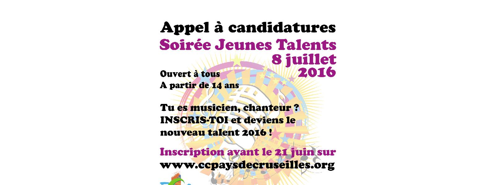 Candidature pour la soirée Jeunes Talents