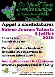 Affiche candidature pour la soirée Jeunes Talents