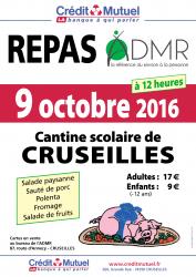 Affiche du repas annuel de l'ADMR le dimanche 9 octobre 2016 à partit de 12h au restaurant scolaire de Cruseilles