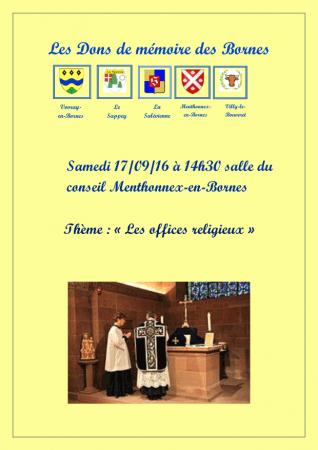 Affiche des Dons de Mémoire des Bornes sur le thème des offices religieux