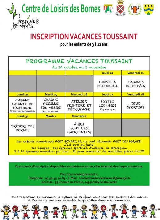 Centre de Loisirs des Bornes - Inscriptions vacances Toussaint 2016