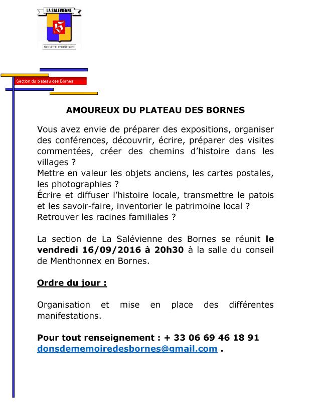 Réunion de La Salévienne des Bornes le vendredi 16 septembre 2016 à 20h30