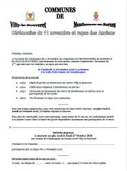 Cérémonies du 11 novembre : programme et bulletin de participation.