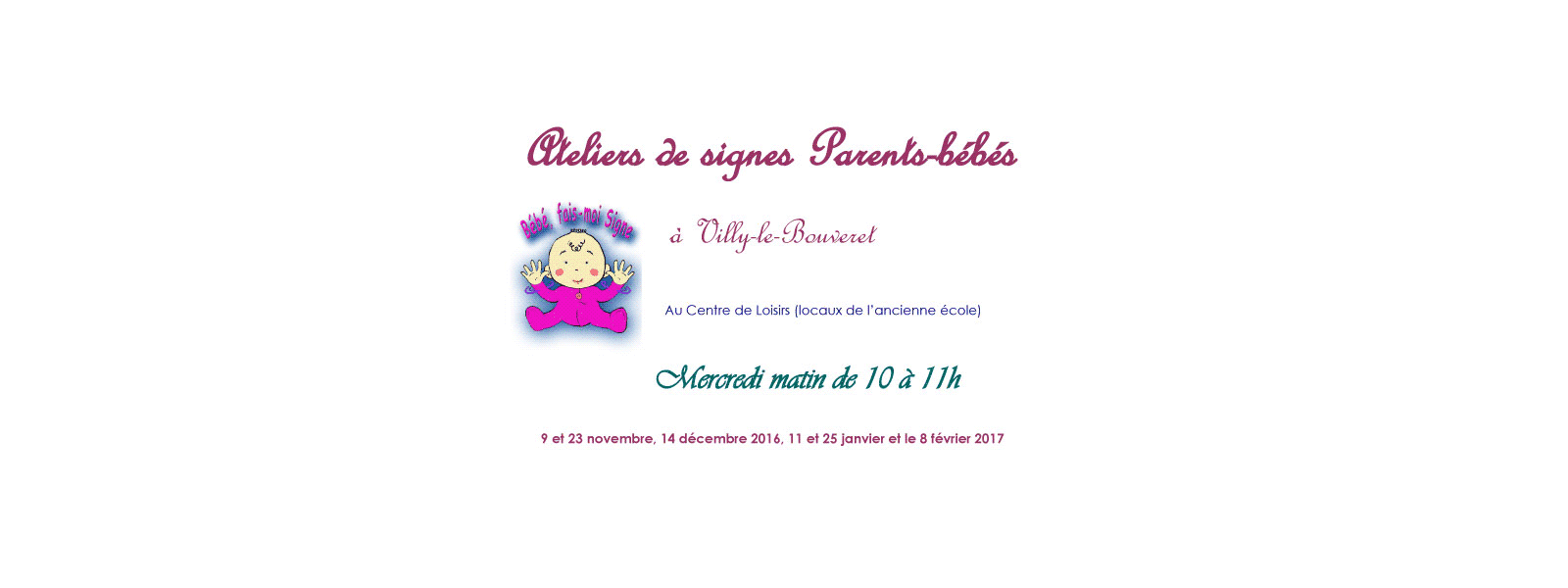 Ateliers de signes parents- bébés à Villy-le-Bouveret