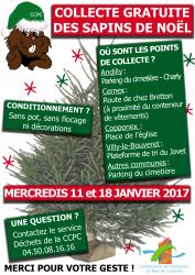 Collecte de sapins de noël les 11  et 18 janvier 2017