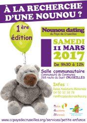 Affiche du 1er «Nounou Dating» sur le Pays de Cruseilles