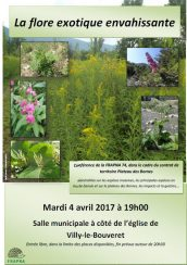 La flore exotique envahissante, Conférence de la FRAPNA 74, dans le cadre du contrat de territoire Plateau des Bornes, Mardi 4 avril 2017 à 19h00 Salle municipale à côté de l'église de Villy-le-Bouveret.