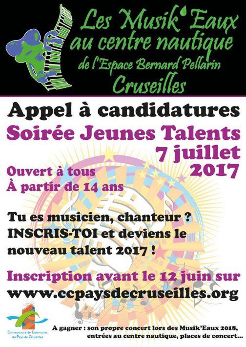 Affiche de l'appel à candidatures pour la soirée Jeunes Talents 2017