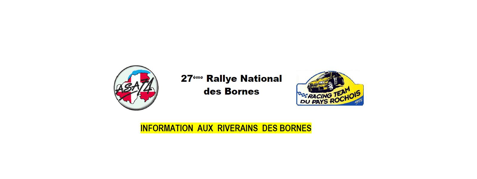 Informations aux riverains concernant le Rallye des Bornes 2017