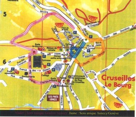 Plan de la déviation mise en place à l'occasion de la fête de la musique 2017 à Cruseilles