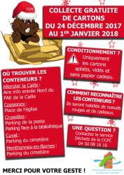 Collecte gratuite de cartons du 24 décembre 2017 au 1er janvier 2018
