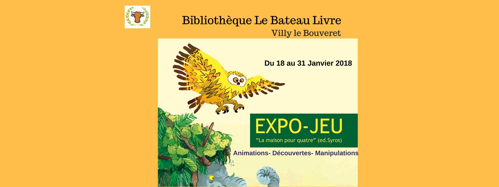 Expo-Jeu à la Bibliotheque de Villy-le-Bouveret du 18 au 31 janvier 2018.