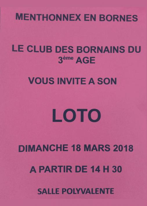 Loto du Club des Bornains du 3ème le dimanche 18 mars 2018 à partir de 14h30
