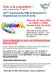10ème carnaval de Villy-le-Bouveret le 21 mars 2018