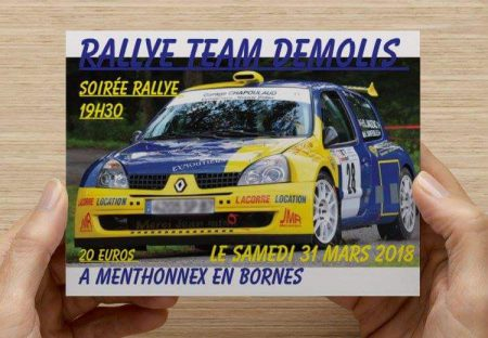 Soirée Rallye de la Team Demolis le samedi 31 mars 2018