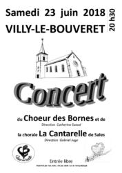 Affiche du concert du Choeur des Bornes et de La Cantarelle à Villy-le-Bouveret le 23 juin 2018 à 20h30