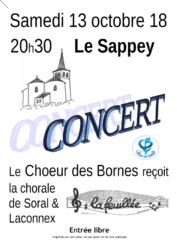 Affiche du concert du Choeur des Bornes à l'église du Sappey le 13 octobre 2018