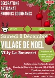 Affiche du marché de noël de l'APEMV à Villy-le-Bouveret le 8 décembre 2018