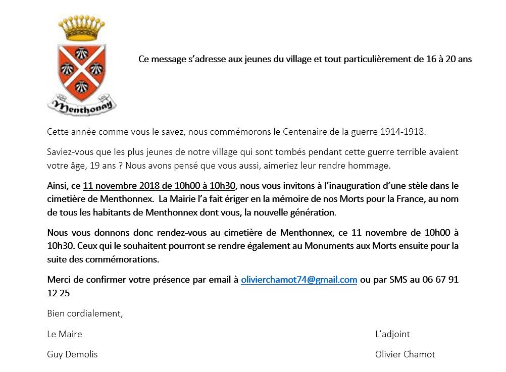 Invitation des jeunes aux cérémonies du 11 novembre 2018