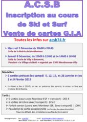 Infos pour les inscriptions au ski-surf avec l'ACSB