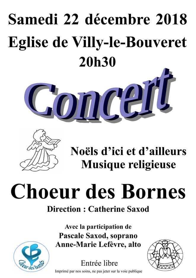 Concert du Choeur des Bornes le 22 décembre 2018 à 20h30 en l'église de Villy-le-Bouveret