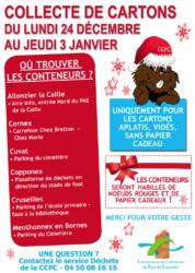 Collecte gratuite de cartons du 24 décembre 2018 au 3 janvier 2019