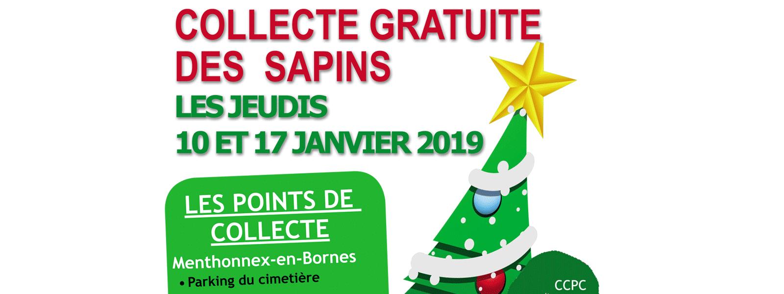 Collecte de sapins de noël les jeudis 10 et 17 janvier 2019.