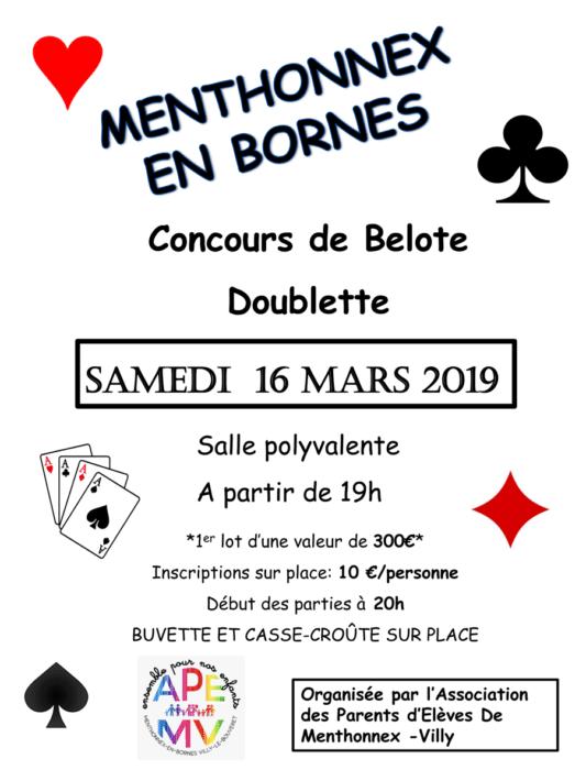 Belote organisée par l'APEMV le 16 mars 2019.