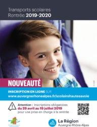 Flyer pour les inscriptions aux transports scolaires 2019-2020.