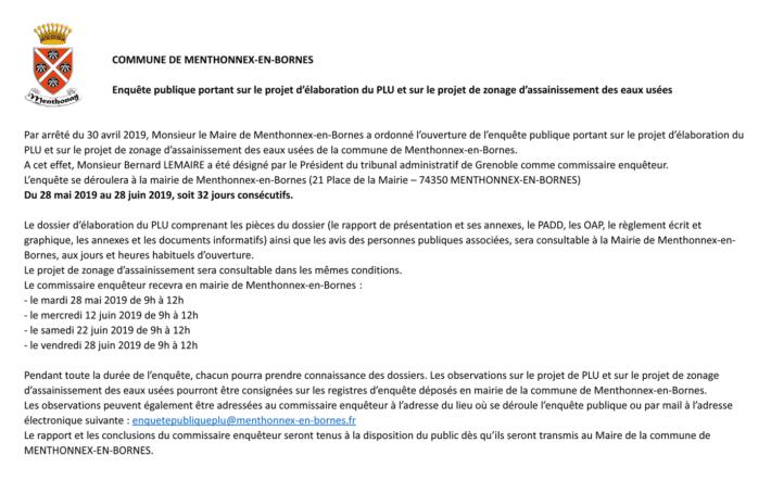 Annonce légale de l'Enquête publique portant sur le projet d'élaboration du PLU et sur le projet de zonage d'assainissement des eaux usées