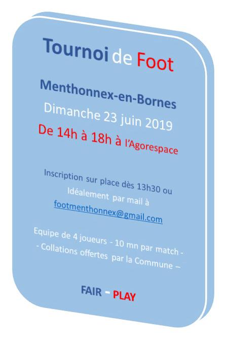 Tournoi de foot le 23 juin 2019