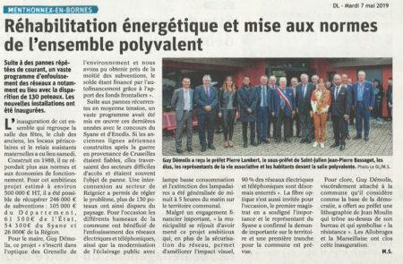 Article du Dauphiné Libéré sur la réhabilitation énergétique et la mise aux normes de l'ensemble polyvalent