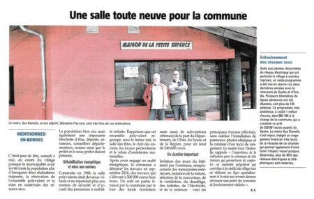 Article du Dauphiné Libéré sur la rénovation de la salle polyvalente
