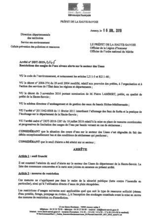 Arrêté n°DDT-2019-1146 Restrictions des usages de l'eau niveau alerte sur le secteur des Usses.
